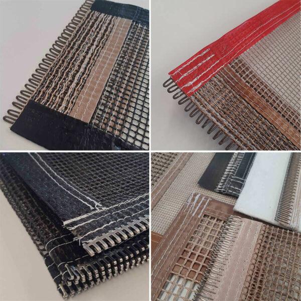 Detalhes dos acabamentos para emendas das esteiras de fibra de vidro com PTFE