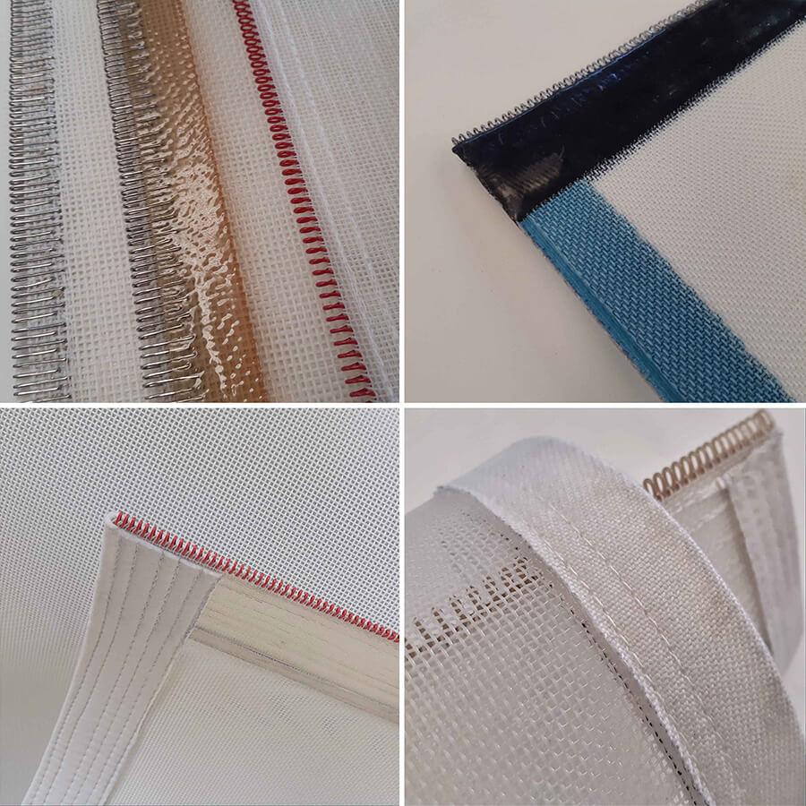 Arte com quatro imagens de esteiras de tela monofilamento