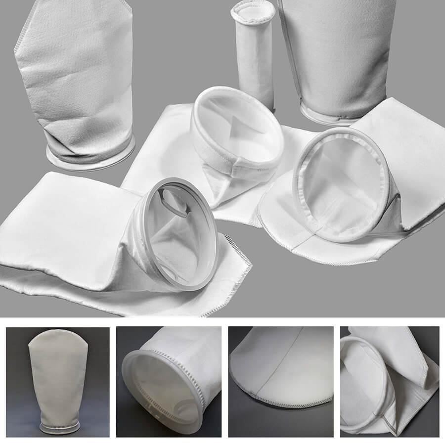 arte com cinco imagens de bolsas filtrantes de feltro. Em destaque os variados acabamentos
