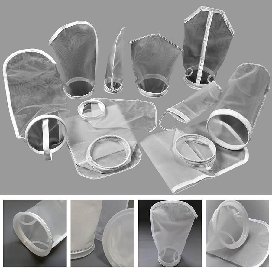 arte com cinco imagens de bolsas filtrantes de telas