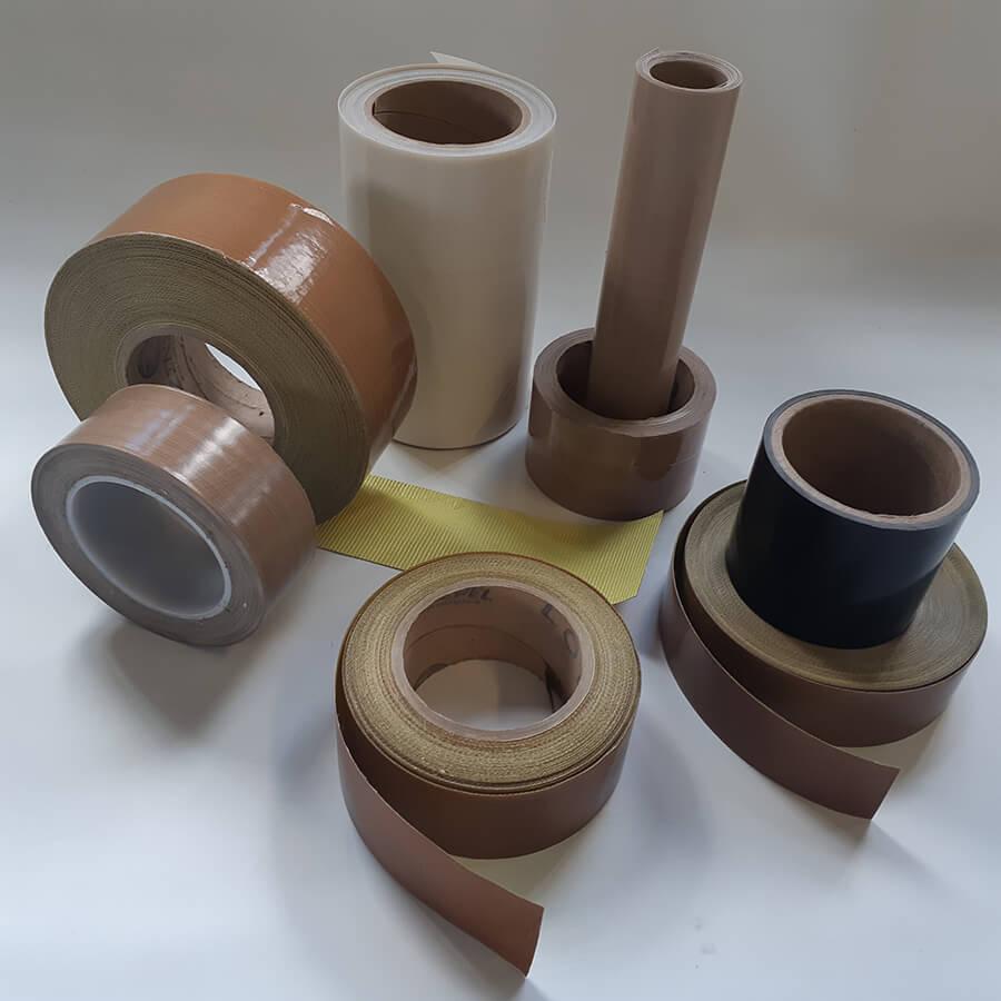 Vários rolos de fita de fibra de vidro com PTFE com e sem adesivo de diversas larguras
