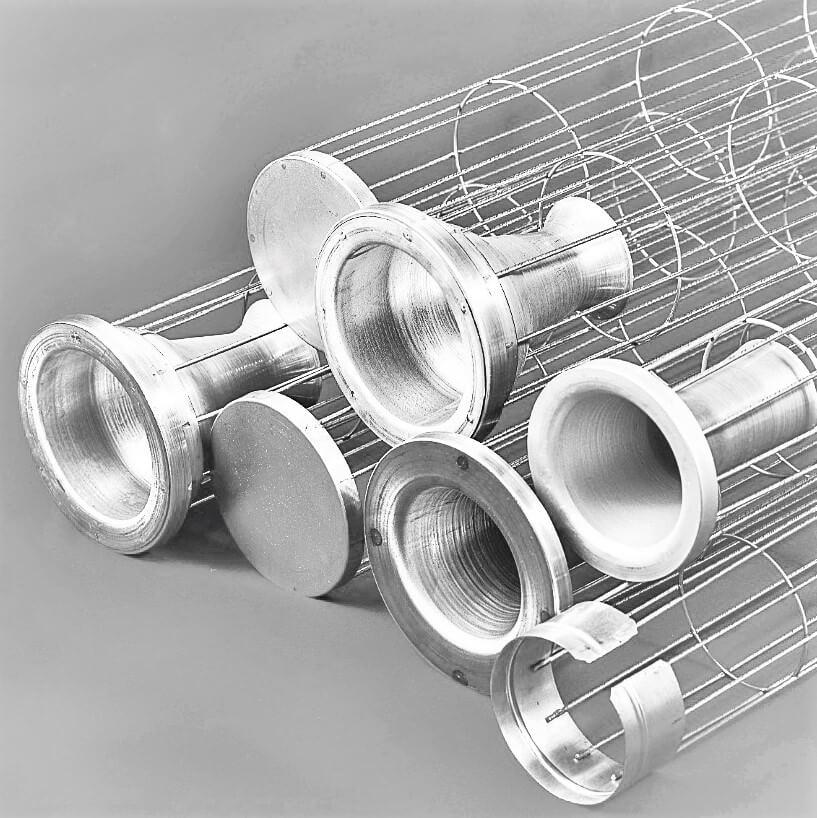 Vários modelos de gaiolas para mangas filtrantes