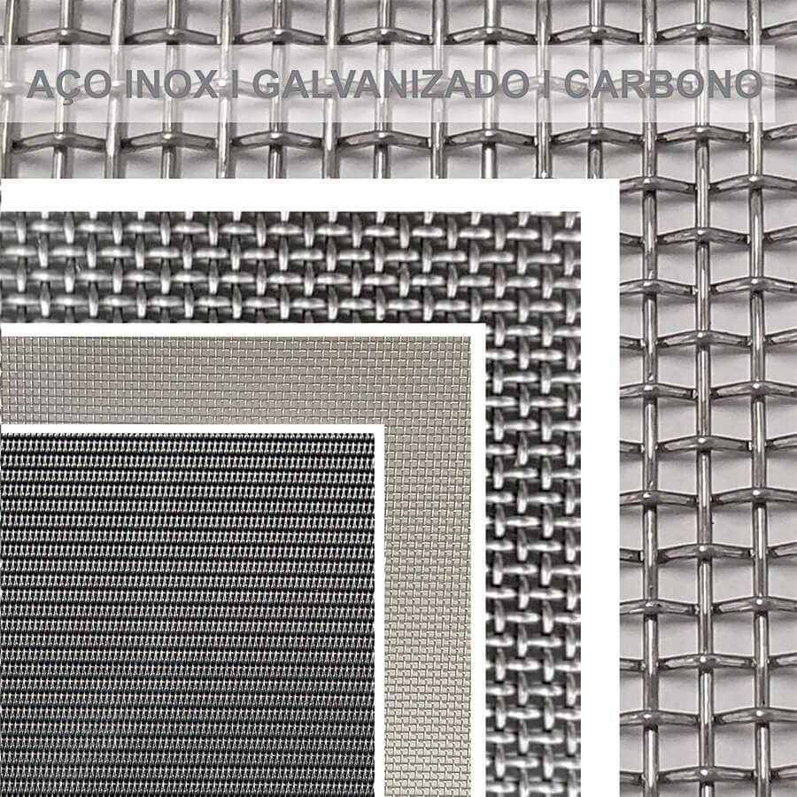 imagens de várias telas: aço carbono, aço inoxidável e aço galvanizado
