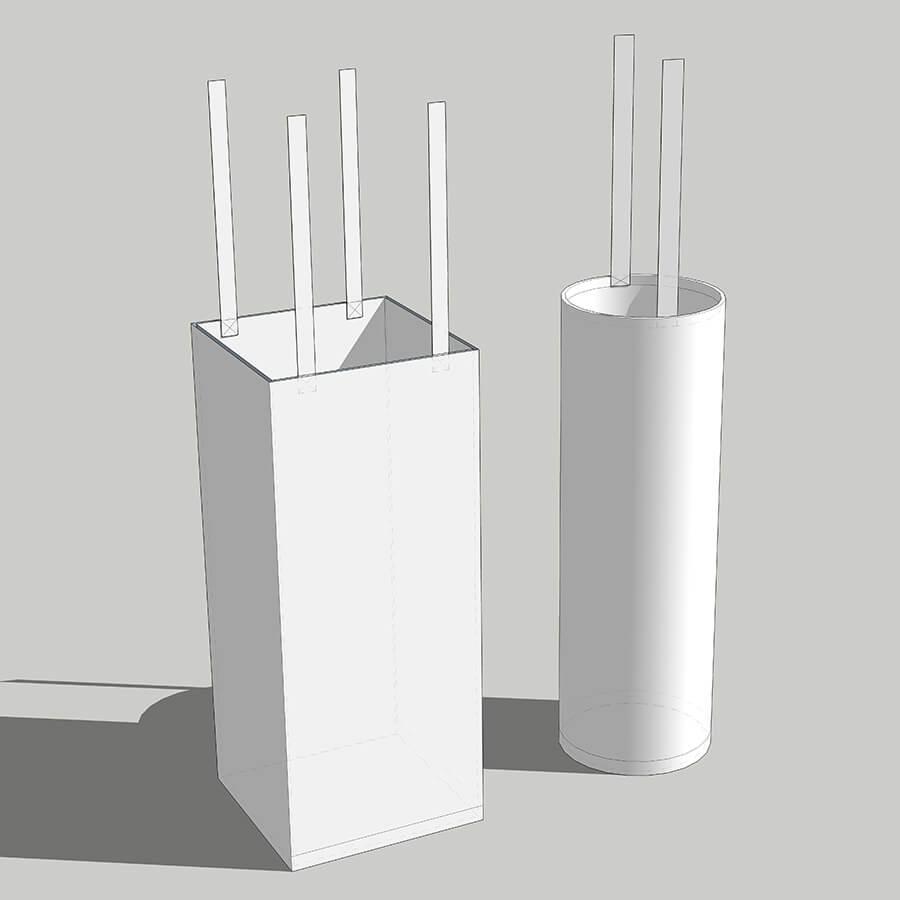 imagem 3D de dois sacos anódicos