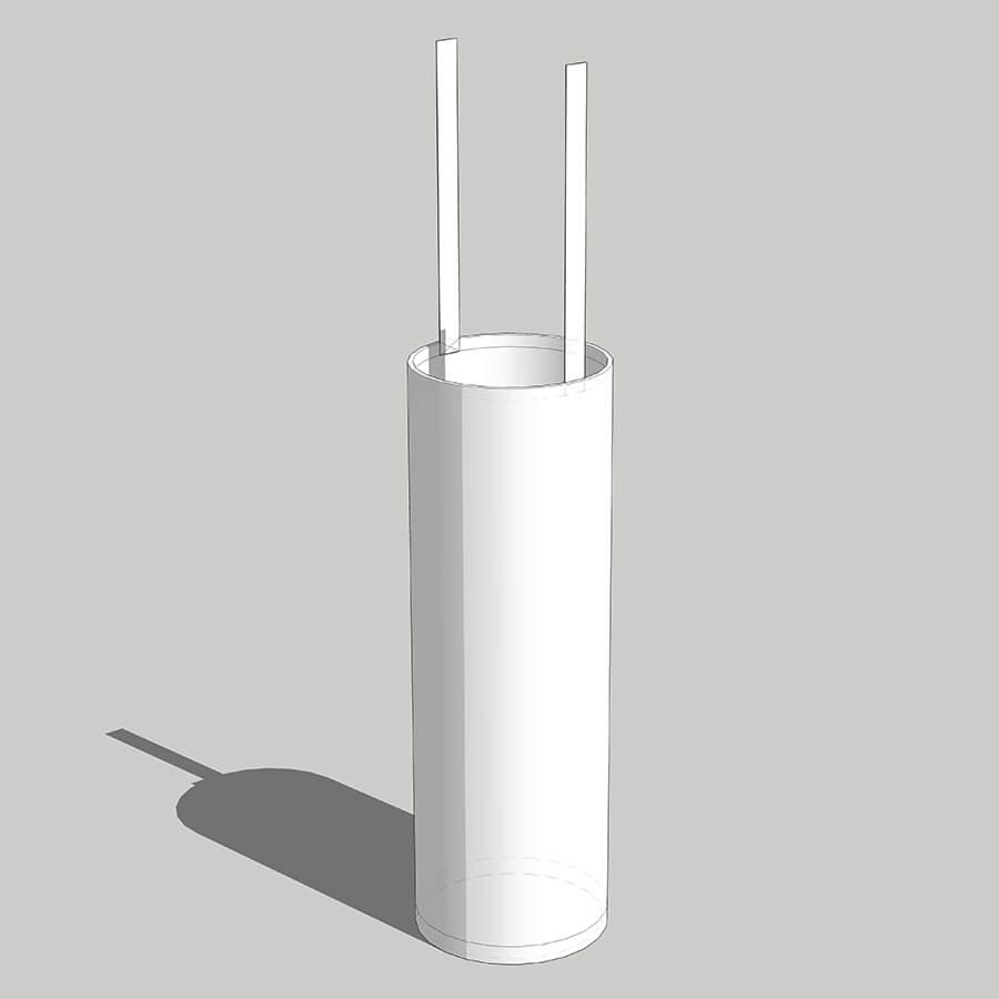 imagem 3D do saco anódico