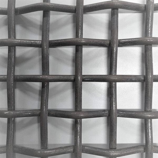 Detalhe da malha da tela de aço carbono