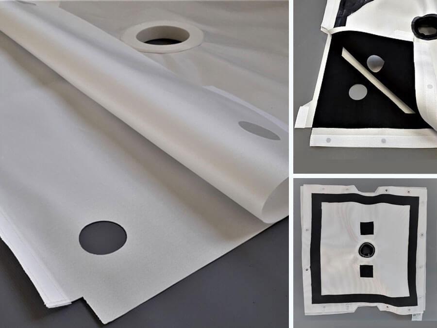 Arte com destaque para três tipos de lona para filtro prensa